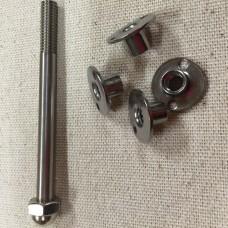 Leg mounting hardware inside cabinet